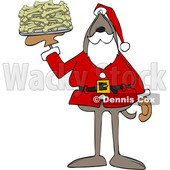 Cartoon Santa Dog with a Platter of Dog Bone Biscuits © djart #1621810