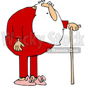 Cartoon Surprised Santa Wearing Pajamas and Using a Cane © djart #1621812