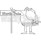 Cartoon Black and White Christmas Santa Claus in Pajamas Fixing a North Pole Sign © djart #1621860