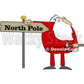 Cartoon Christmas Santa Claus in Pajamas Fixing a North Pole Sign © djart #1621863