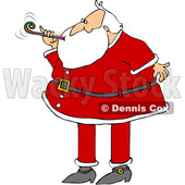 Cartoon Christmas Santa Claus Blowing a New Years Noise Maker © djart #1621864