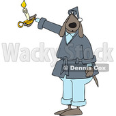 Cartoon Dog in a Robe, Holding a Candle © djart #1622066
