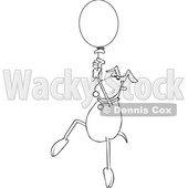 Cartoon Black and White Dog Floating with a Balloon © djart #1622760