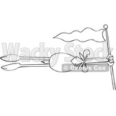 Cartoon Black and White Moose Holding on to a Flag Pole and Flying in the Wind © djart #1622763