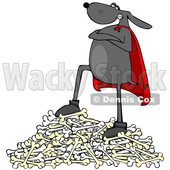 Cartoon Dog Super Hero on a Pile of Bones © djart #1622772