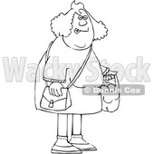 Cartoon Black and White Chubby Woman Carrying a Shopping Bag Full of Apples and Oranges © djart #1622885