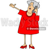 Cartoon White Senior Woman Gesturing and Talking on a Cell Phone © djart #1624120