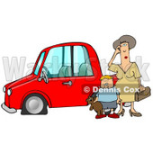 Worried Woman Sratcing Her Forehead And Wondering What To Do While Her Son Stands Beside Her, Holding His Teddy Bear, By Their Red Car With A Flat Tire Clipart Illustration Graphic © djart #16243