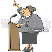 Cartoon White Female Politician Speaking at a Podium © djart #1624307