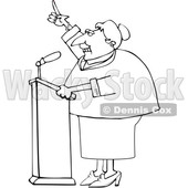 Cartoon Black and White Female Politician Speaking at a Podium © djart #1624308