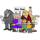 Old Lady Seated In A Chair At A Bus Stop, Surrounded By A Group Of People, Including A Man Reading A Newspaper, Woman With Her Two Children And A Man Listening To An Mp3 Player Clipart Illustration Graphic © Dennis Cox #16245