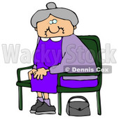 Old Lady With Gray Hair, Wearing A Purple Dress And Sitting In A Chair With Her Purse On The Ground Clipart Illustration Graphic © Dennis Cox #16247