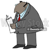 Latin Businessman Reading A Newspaper While Standing And Waiting Clipart Illustration Graphic © Dennis Cox #16248