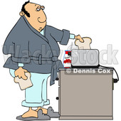 Cartoon White Man Putting Bread in a Toaster © djart #1624897