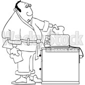 Cartoon Black and White Man Putting Bread in a Toaster © djart #1624898