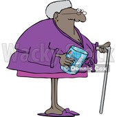 Cartoon Black Senior Woman with a Cane and Her Teeth in a Jar © djart #1624928