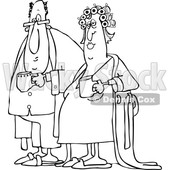 Cartoon Black and White Chubby Couple in Robes and PJs Holding Their Morning Coffee Mugs © djart #1625442