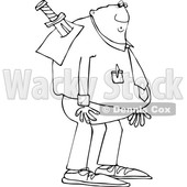 Cartoon Lineart Black Business Man Stabbed in the Back with a Sword © djart #1625445