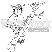 Cartoon Black and White Viking Climbing a Ladder Made of Tree Branches © djart #1625446