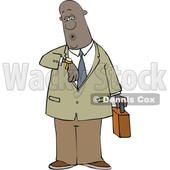 Cartoon Black Business Man Checking His Watch © djart #1625450