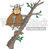 Cartoon Viking Climbing a Ladder Made of Tree Branches © djart #1625452