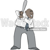 Cartoon Tough Black Business Man Batting in a Baseball Game © djart #1625453