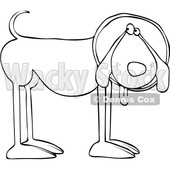 Cartoon Black and White Dog Wearing a Cone © djart #1625610