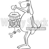 Cartoon Black and White Dog Holding a Bone Wind Chime © djart #1625826