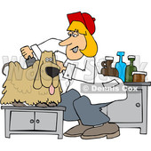 Cartoon Dog Being Groomed © djart #1627428