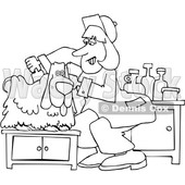 Cartoon Black and White Dog Being Groomed © djart #1627429