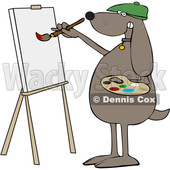 Cartoon Dog Artist Painting on a Canvas © djart #1627667