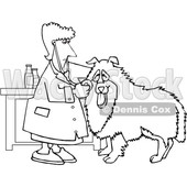 Cartoon Black and White Female Veterinarian Examining a Dog © djart #1627669