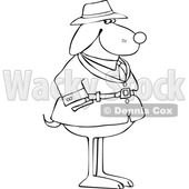 Cartoon Black and White Dog Investigator © djart #1627671