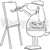 Cartoon Black and White Dog Artist Painting on a Canvas © djart #1627674