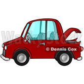 Clipart Illustration Image of a Compact Red Car With An Open Trunk In Profile © Dennis Cox #16282