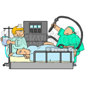 Clipart Illustration Image of a Nervous Male Patient Lying On His Stomach With His Butt Up In The Air, Clutching The Side Of A Matress Of A Hospital Bed While A Proctologist Doctor Prepares To Insert A Machine Into The Anus For A Colonoscopy And A Nurse H © Dennis Cox #16284