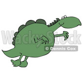 Clipart Illustration Image of a Chubby Green Dinosaur Leaping Through The Air While Jumping For Something He Wants © Dennis Cox #16285