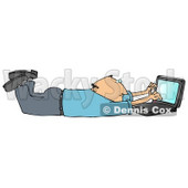 Clipart Illustration Image of a Balding Caucasian Businessman In A Blue Shirt And Slacks, Lying On His Stomach While Typing On A Laptop Computer That Is Set On Wireless Internet © Dennis Cox #16286