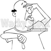Cartoon Black and White Man Plugging His Nose to Avoid a Stinky Smell and Giving a Thumb down © djart #1629535