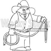 Cartoon Black and White Cowboy Holding a Lariat Rope © djart #1629948