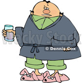 Cartoon Sick Man Wearing Bunny Slippers and Holding a Glass © djart #1629949