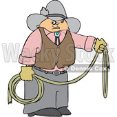 Cartoon Cowboy Holding a Lariat Rope © djart #1629951