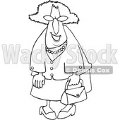 Cartoon Black and White Smiling Stylish Granny © djart #1630764