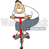 Cartoon White Man Playing on a Pogo Stick © djart #1630770