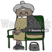 Old African American Lady With Gray Hair, Wearing A Green Dress And Sitting In A Chair With Her Purse On The Ground Clipart Illustration Graphic © Dennis Cox #16313