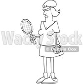Cartoon Black and White Fit Senior Woman Playing Tennis © djart #1631301