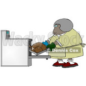 Clipart Illustration Image of a Middleaged African American Woman Wearing Mis-Matched Oven Mits And Putting A Turkey In The Oven While Cooking For Thanksgiving Or Christmas Dinner © Dennis Cox #16314