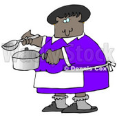 Clipart Illustration Image Of An African American Woman In A Purple Dress, White Apron, Gray Socks And Slippers, Holding A Spoon And Pot While Cooking Soup For Supper In A Kitchen © Dennis Cox #16315