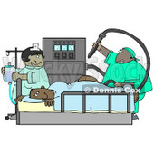 Clipart Illustration Image of a Nervous Male African American Patient Getting a Colonoscopy Exam © Dennis Cox #16316