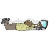 Clipart Illustration Image of a Balding African American Businessman In A Green Shirt And Slacks, Lying On His Stomach While Typing On A Laptop Computer That Is Set On Wireless Internet © Dennis Cox #16318